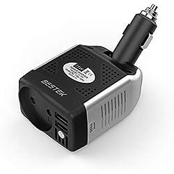 BESTEK Convertisseur 12v 220v Chargeur Allume Cigare avec 2 Ports USB Onduleur pour Voiture 75W (Noir Blanc)