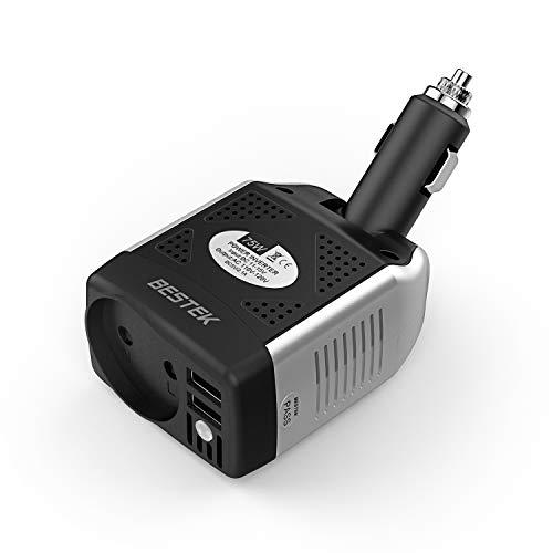 BESTEK Spannungswandler 12V auf 230V Auto USB Ladegerät 75W KFZ Steckdosen Wechselrichter 12 230 für iPhone iPad