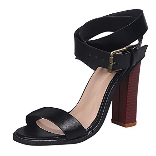 Markthym Frauen Sommer Open Toe Square High Heels Knöchel Schnalle Sandalen Fashion Lady High Heels Frauen Europa und den Vereinigten Staaten Neue Sommer große Knöchelriemen mit Schlangenmuster - Staat Stricken