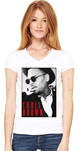 Chris Brown With Sunglasses Damen V-Ausschnitt T-Shirt XX-Large