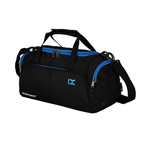 (Maysurban Unisex Sporttasche Trainingstasche mit Schuhfach Handgepäck Tasche Duffle Bag 20L Wasserdicht Modisch Schwarz)