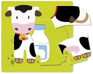 Goula - Puzzle Vaca de 3 Niveles, 7 Piezas de Madera (Diset 53028)