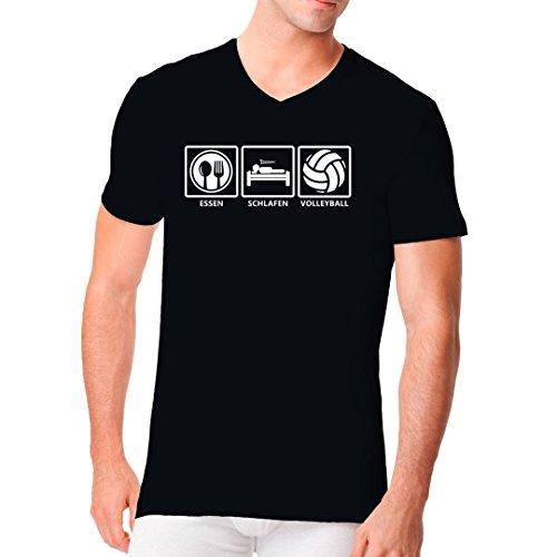 Sport Männer V-Neck Shirt - Essen - Schlafen - Volleyball: Fun Shirt by Im-Shirt Schwarz