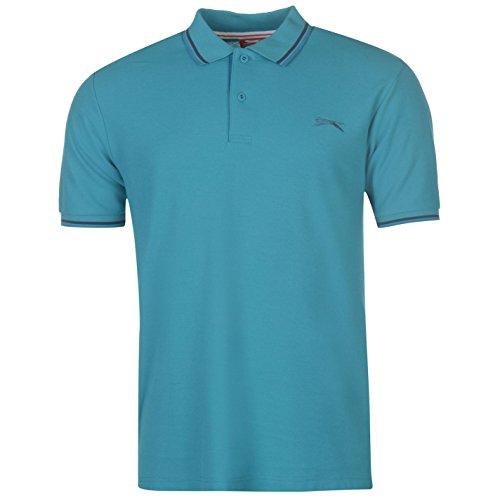 Slazenger Herren Tipped Polo Shirt Kurzarm Polohemd Streifen Details Teal Blau M -