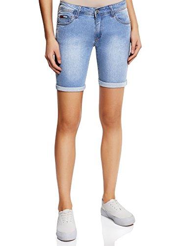oodji Collection Damen Lange Jeansshorts, Blau, W32 / DE 44 / EU 46