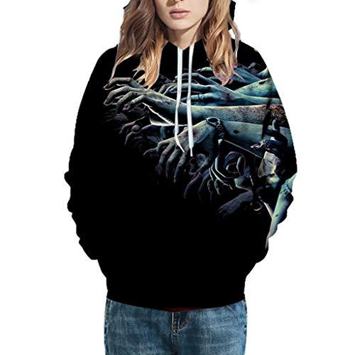 GOKOMO Halloween Paare Hoodies Männer Bluse Sweatshirt Tops Frauen Mode 3D Print Langarm(G,XXX-Large) -