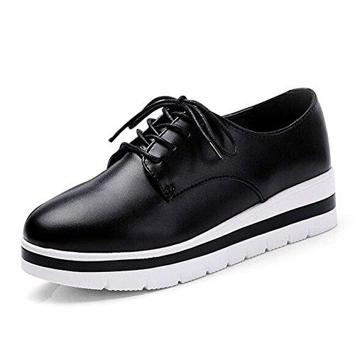 Chaussures femme/printemps et automne chaussures/Plate-forme avec des semelles épaisses chaussures femme/Blanc chaussures plates/Chaussures lacées/Talons hauts B