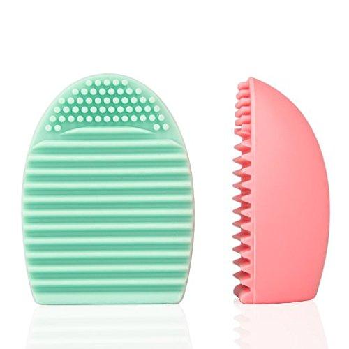 Scrox 2 Pcs Outil de nettoyage de brosse cosmétique Gel de silice Plus propre Blush brosse Pinceau de maquillage Brosse à cils purifier (Rose+Vert)