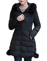 DianShao Mujer Chaqueta Larga De Elegante Abrigo De Algodón Cremallera Outwear con Capucha