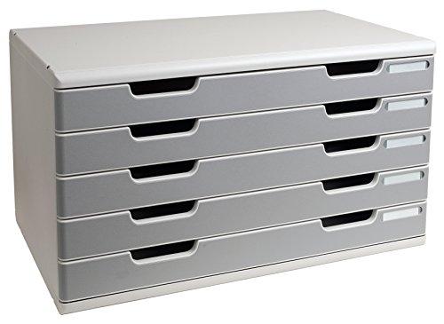 Foto de Exacompta - Mueble archivador con 5 cajones (tamaño A3), color gris perla