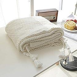 MYLUNE HOME 100% Coton Couverture tricot mérinos élégante de luxe pour regarder la télévision ou la selle sur chaise, canapé et lit,Double face Couvertures 130*160cm (white)