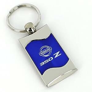 Nissan 350Z Bleu Cadran en métal brossé Clé chaîne