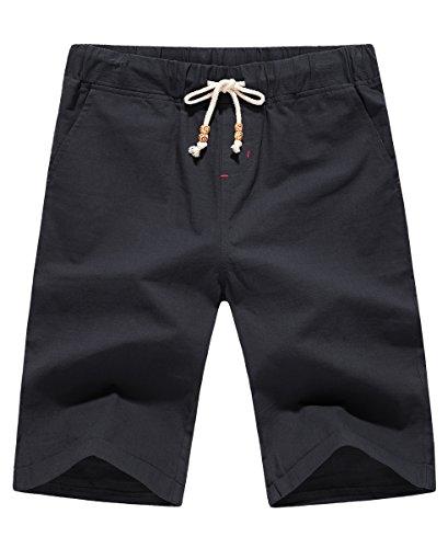 POSESHE Herren Leinen Freizeit Sommer Beach Shorts (Schwarz S)