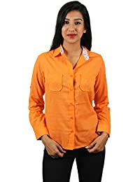 Old Khaki Solid Cotton Casual Partywear Shirt Women's Girls Shirt with Swaroski Stones on The Double Pockets in Orange Color with Contrast & Free Shipping