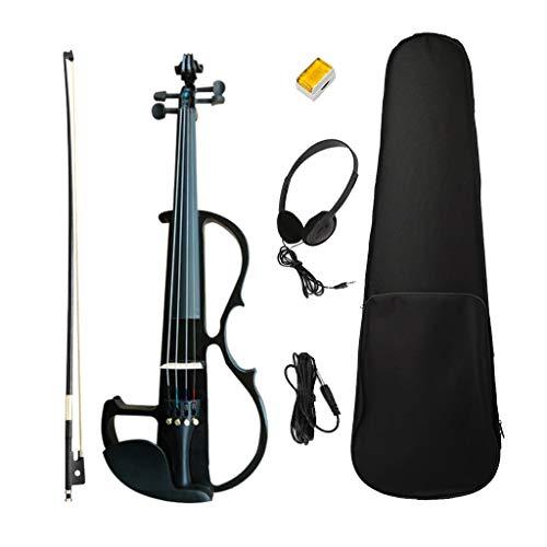 Homyl Massello In Legno Professionale 4/4 Violino Elettrico Silenzioso A Grandezza Naturale Set Per Studenti Violinisti - Nero