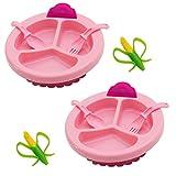 Lantelme 6850 Baby Warmhalteteller mit Beißring und Besteck Set in pink