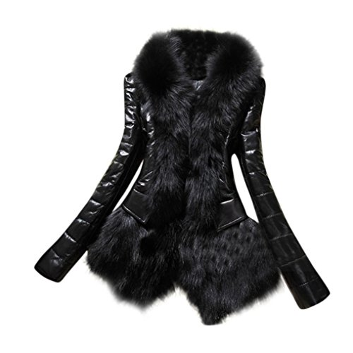 Bekleidung Hirolan Frau Faux Pelz Halsband Mantel Dick Jacke Lange Hülse Mantel PU Leder Warm Parka Neu Designer Winterjacke Damen Schwarz (XXL, Schwarz) (Designer Womens Ärmellose Bluse)