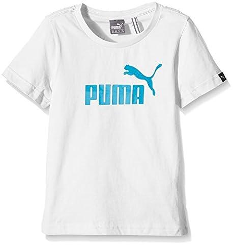 Puma Ess Large Logo T-Shirt Garçon Blanc FR : 14 ans (Taille Fabricant : 164)