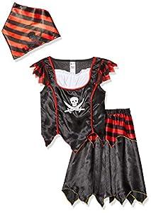Smiffys-32341S Disfraz de Chica de Calavera de Pirata y Huesos Cruzados, con Vestido y pañoleta para la Cabeza, Color Negro, S-Edad 4-6 años (Smiffy