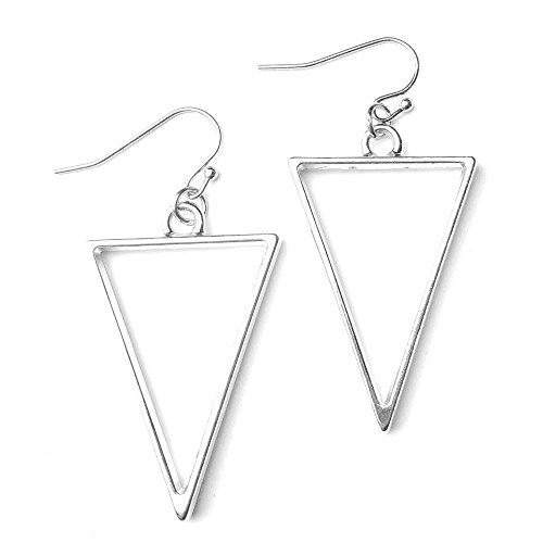 Sabai NYC Eighties New Wave Open Triangle Hoop Earrings on Stainless Steel Earwires (Isoceles Triangle Hoops)