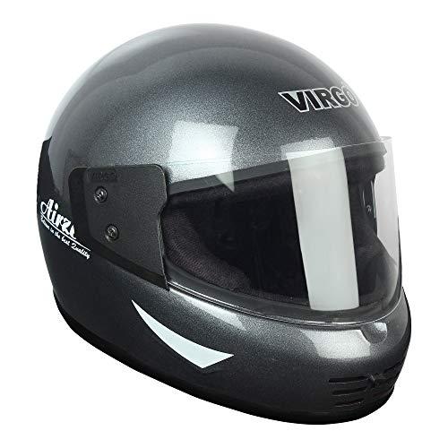 Virgo Airzed Glossy Finish Visor Clear Helmet (Medium, Black)