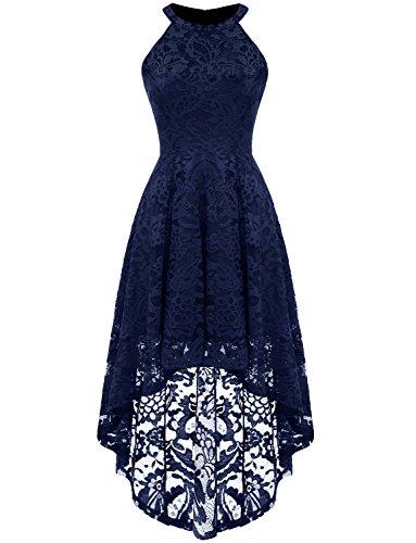 Dressystar Vokuhila Kleid Cocktail Spitzenkleid Halter Sexy Schulterfrei Ballkleid Marineblau XS