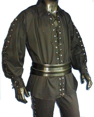 Baumwollhemd Piratenhemd Pirat Hemd geschnürt Gr. XXL 494 Schwarz (Emo Halloween-kostüme)