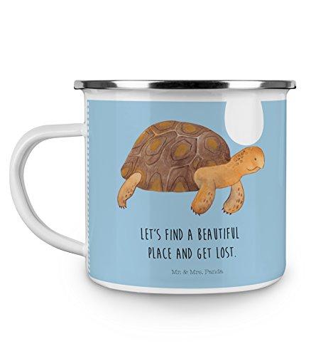Mr. & Mrs. Panda Tasse, emailliert, Camping Emaille Tasse Schildkröte marschiert mit Spruch - Farbe Blau Pastell
