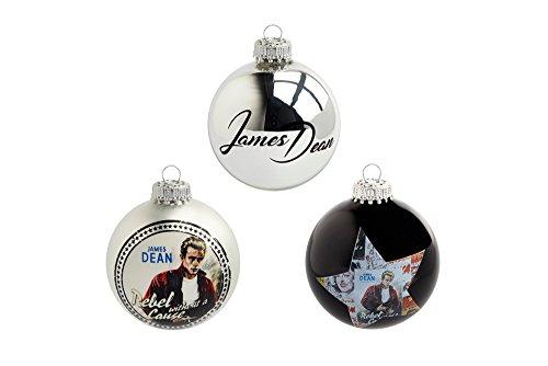 Krebs & Sohn Motiv-Weihnachtskugeln 3er Set - Christbaumkugeln aus Glas mit Aufdruck - Hollywood Filmstar - Silber, Schwarz
