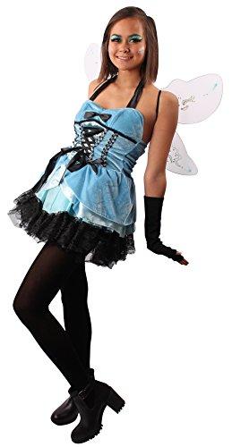 Schillerndes Schmetterling Kostüm blau-schwarz für Damen | Größe 36/38 | 2-teiliges Kostüm | Elfe Faschingskostüm für Frauen | Märchen (Ideen Schmetterling Kostüm Für Erwachsene)