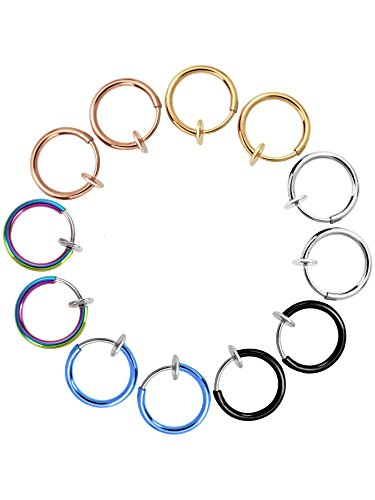 12 pezzi orecchini finti anelli clip di naso orecchio labbro non-piercing ad anello cerchi gioielli per corpo per uomini e donne, 6 colori