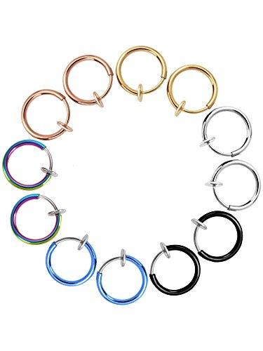fake piercings lippe 12 Stück Falsch Ohrringe Nasen Ohr Lippe Ringe Non-Pierced Ohrringe Hoop Körperschmuck für Männer und Frauen, 6 Farben