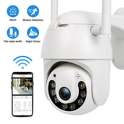 PTZ Camera WIFI 1080P, IP Camera 355° Pan/90° Tilt, Sensore di Movimento, Interfono Vocale Bidirezionale, Visione Notturna, IP66 Impermeabile, Messaggio Push
