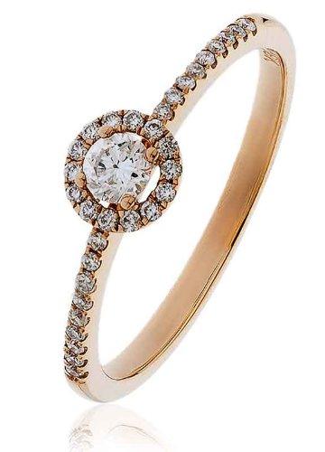 0.25ct Certificato G/VS2Round Brilliant Centro con forma rotonda Halo Diamante Anello con diamante spalle in Oro Rosa 18K, oro rosa, 56 (17.8), cod. FL3312