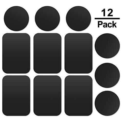 MOSUO 12 Pezzi Placche Metalliche Adesive (6 Rettangolari e 6 Tonde) Piastra Metallo con Adesivo 3M Universale per Supporto Magnetico Auto/Porta Cellulare da Auto con Calamita, Nero