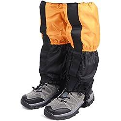 TRIWONDER Unisex Snow Leg Gaiters Impermeable Boot Polainas Senderismo Caminar Escalada Caza Ciclismo Leggings Cubierta (1 par)(Naranja y Negro)