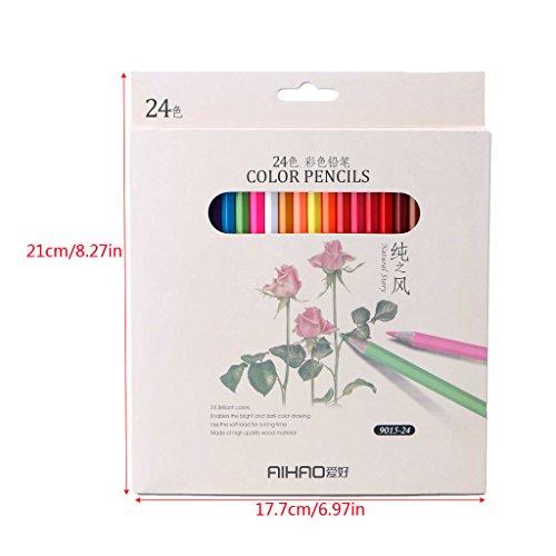 Dairyshop 24 Couleur Art Dessin Crayons Set Crayon pour l'artiste Esquisser Papeterie
