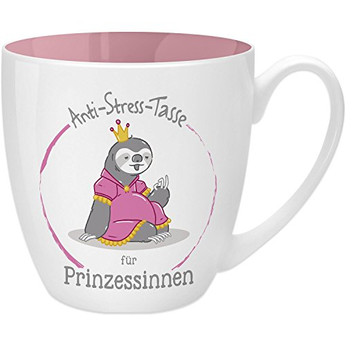 Gruss & Co 45519 Anti-Stress Tasse für Prinzessinnen, 45 cl, Geschenk, New Bone China, Rosa, 9.5 cm