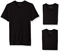 Tommy Hilfiger Mens Undershirts 3 Pack Cotton Classics V-Neck T-Shirt, Black, X-Large