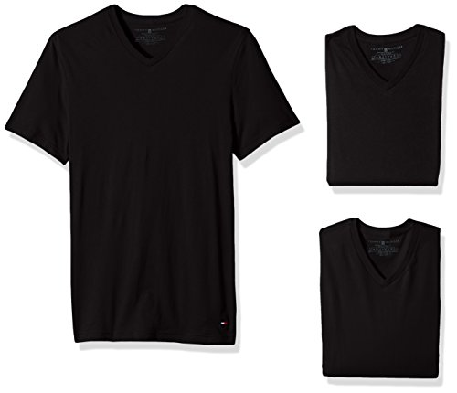 Preisvergleich Produktbild Tommy Hilfiger Men's Undershirts 3 Pack Cotton Classics V-Neck T-Shirt, Black, Medium