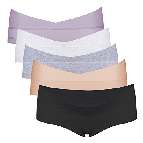 Intimate Portal Damen Schwangerschafts Slip Postnatale Unterwäsche Umstandsunterwäsche Unterhosen 5er Pack XXL Schwarz Grau Weiß Beige Violett