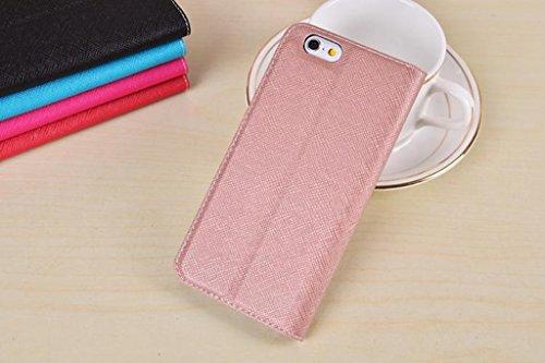 EKINHUI Case Cover Cross Lines Texture Ultra Thin Slm Style PU Leder Schutzhülle mit Card Slots und Kickstand für iPhone 6 Plus & 6s Plus ( Color : Black ) Rosegold