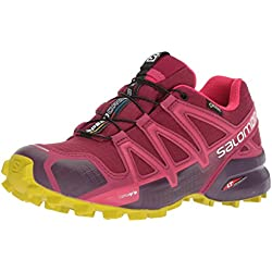 SALOMON Speedcross 4 GTX, Calzado de Trail Running, Impermeable para Mujer, Rojo (Beet Red/Potent Violet/Citronelle), 37 1/3 EU