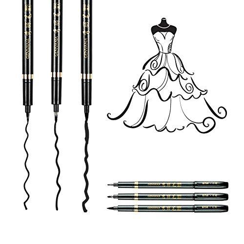 Genvana - Lotto di 3 penne a punta morbida per calligrafia (kana / kanji), disegno, manga
