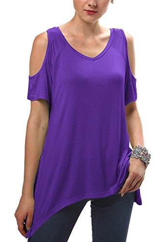 Urbancoco Damen Vogue Schulterfrei unregelmäßige sidetale Tunika Top Shirt Lila