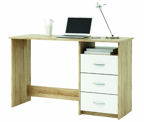 Demeyere-101000-Schreibtisch-1-Fach-und-3-Schubladen-sonoma-eiche-mit-Struktur-wei