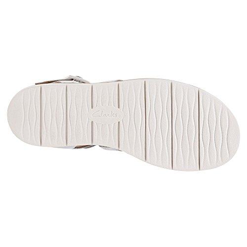 Clarks Lydie Kona Open Toe in pelle Gladiator Sandal White Leather