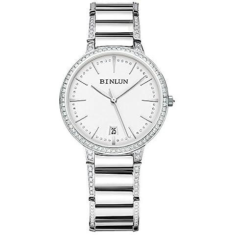 Binlun Elle et Lui Cadeau Amant montres étanche ultrafin pour femme montre automatique avec date Diamante Band - Womens Diamante Orologio Automatico