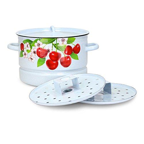 Mantykocher Dampfkocher - Kirschblüten, emailliert, 2xAuflagen, 7 Liter
