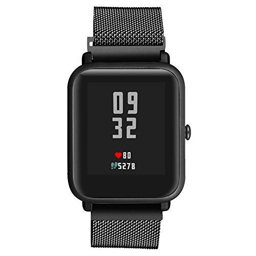 Knowin 20mm Uhrenarmband, Smart Watch Armand Ersatzband mit Edelstahl Magnet-Verschluss für 20mm Silber Edelstahlarmband Uhrenarmband für Xiaomi Amazfit Bip Youth Watch Youth Toms